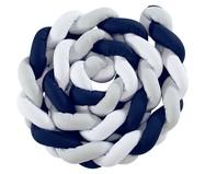 Almofada Protetora para Berço Trança Mescla - Azul Marinho | WestwingNow