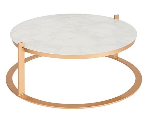 Mesa de Centro Redonda em Inox Aro Carrara - Branco, Branco | WestwingNow