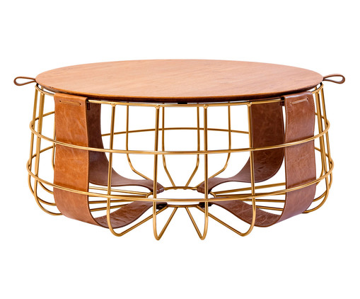 Mesa de Centro em Couro Forseti - Dourada, Dourado | WestwingNow