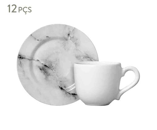Jogo de Xícaras de Cerâmica para Café 100 ml Greta - Estampado, Creme,Cinza | WestwingNow