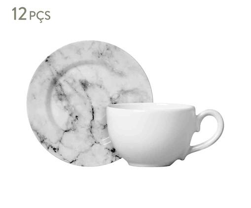 Jogo de Xícaras e Pires em Cerâmica para Chá Greta 06 Pessoas - Estampado, Creme,Cinza | WestwingNow