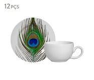 Jogo de Xícaras e Pires em Cerâmica para Café Eva 06 Pessoas - Estampado | WestwingNow