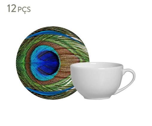 Jogo de Xícaras e Pires em Cerâmica para Chá Eva 06 Pessoas - Estampado, Verde,Azul | WestwingNow