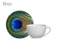 Jogo de Xícaras e Pires em Cerâmica para Chá Eva 06 Pessoas - Estampado | WestwingNow