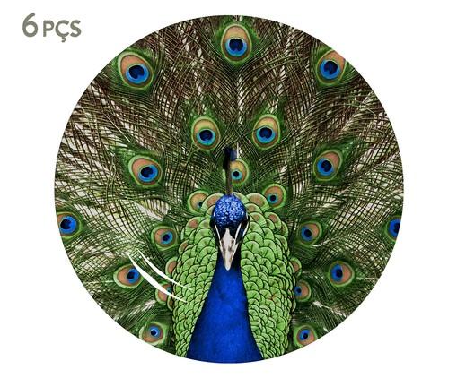 Jogo de Pratos para Sobremesa em Cerâmica Eva 06 Pessoas - Estampado, Verde,Azul | WestwingNow