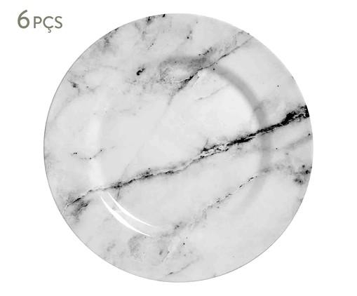 Jogo de Pratos Rasos em Cerâmica Greta 06 Pessoas - Branco e Cinza, Creme,Cinza | WestwingNow