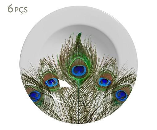 Jogo de Pratos Fundos em Cerâmica Eva - Colorido, Verde,Azul   WestwingNow