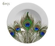 Jogo de Pratos Fundos em Cerâmica Eva 06 Pessoas - Estampado | WestwingNow
