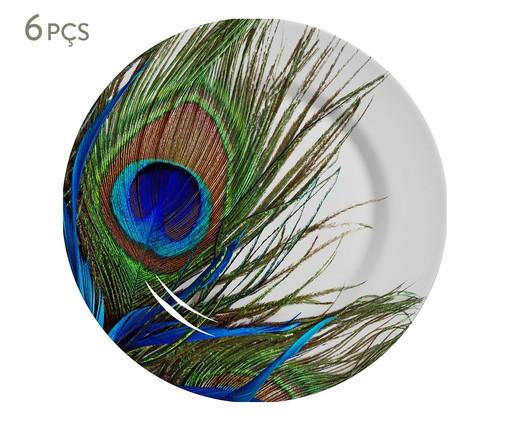 Jogo de Pratos Rasos em Cerâmica Eva 06 Pessoas - Estampado, Verde,Azul | WestwingNow