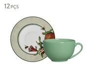Jogo de Xícaras para Chá em Cerâmica Mira - Verde e Vermelho | WestwingNow