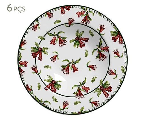 Jogo de Pratos Fundos em Cerâmica Mira 6 Pessoas - Estampado, Vermelho | WestwingNow