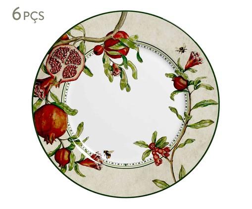 Jogo de Pratos Rasos em Cerâmica Mira 6 Pessoas - Estampado, Vermelho | WestwingNow