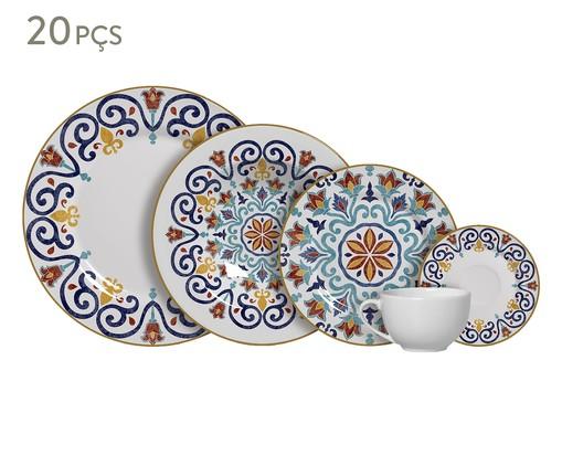 Jogo de Jantar em Cerâmica Mila Estampado - 04 Pessoas, Azul,Laranja | WestwingNow