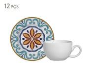 Jogo de Xícaras para Café e Pires em Cerâmica Mila - Colorido | WestwingNow