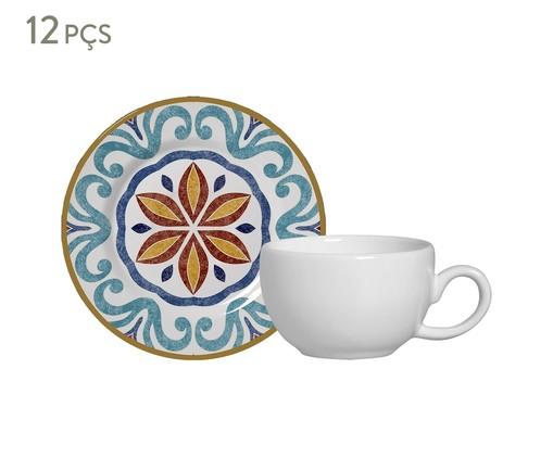 Jogo de Xícaras para Café e Pires em Cerâmica Mila 06 Pessoas - Estampado, Azul,Laranja | WestwingNow
