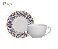 Jogo de Xícaras para Chá e Pires em Cerâmica Mila - Colorido | WestwingNow