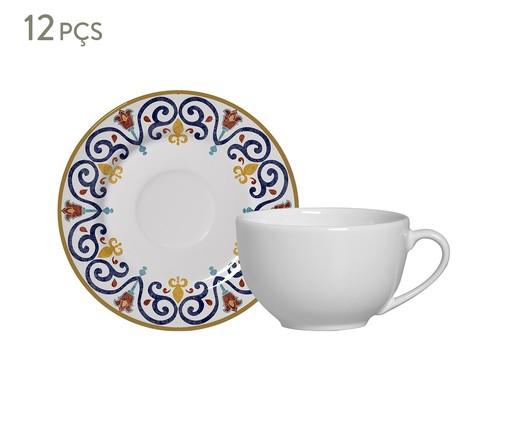 Jogo de Xícaras para Chá e Pires em Cerâmica Mila 06 Pessoas - Estampado, Azul,Laranja | WestwingNow