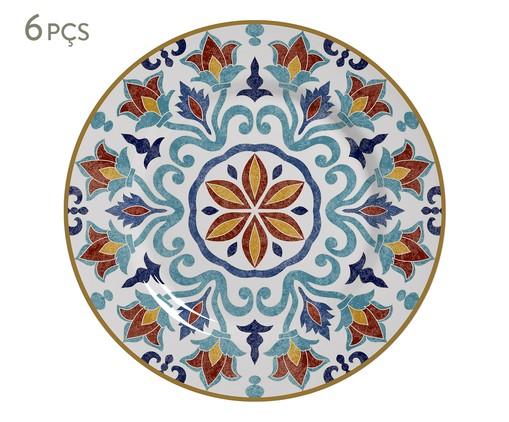 Jogo de Pratos para Sobremesa em Cerâmica Mila - 06 Pessoas, Azul,Laranja | WestwingNow