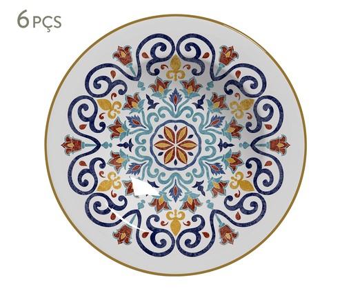Jogo de Pratos Fundos em Cerâmica Mila 06 Pessoas - Estampado, Azul,Laranja | WestwingNow