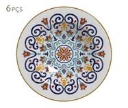 Jogo de Pratos Fundos em Cerâmica Mila 06 Pessoas - Estampado | WestwingNow