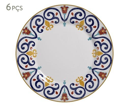 Jogo de Pratos Rasos em Cerâmica Mila 06 Pessoas - Estampado, Azul,Laranja | WestwingNow