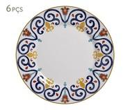 Jogo de Pratos Rasos em Cerâmica Mila 06 Pessoas - Estampado | WestwingNow