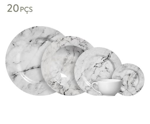 Jogo de Jantar em Cerâmica Greta Cinza - 04 Pessoas, Creme,Cinza | WestwingNow
