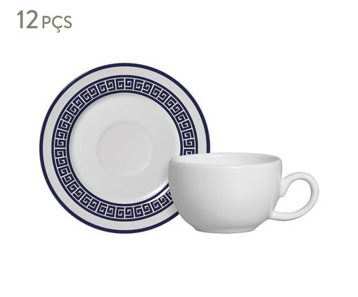 Jogo de Xícaras para Café e Pires em Cerâmica Dani 06 Pessoas - Estampado, Azul | WestwingNow