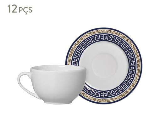 Jogo de Xícaras para Chá em Cerâmica Dani 06 Pessoas - Estampado, Azul | WestwingNow