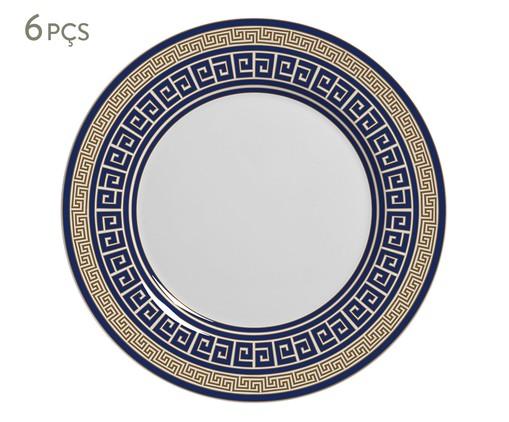 Jogo de Pratos para Sobremesa em Cerâmica Dani - Azul, Azul   WestwingNow