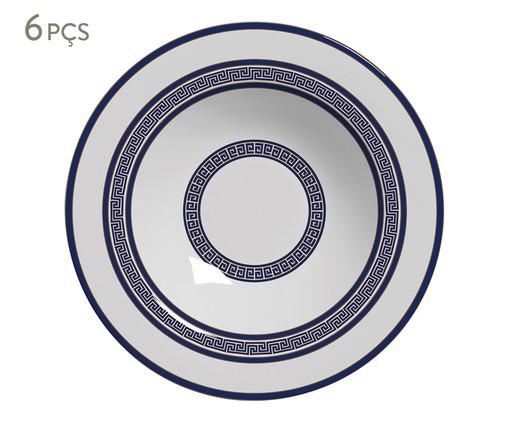 Jogo de Pratos Fundos em Cerâmica Dani 6 Pessoas - Estampado, Azul | WestwingNow