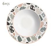 Jogo de Pratos Fundos em Cerâmica Carla 6 Pessoas - Estampado | WestwingNow