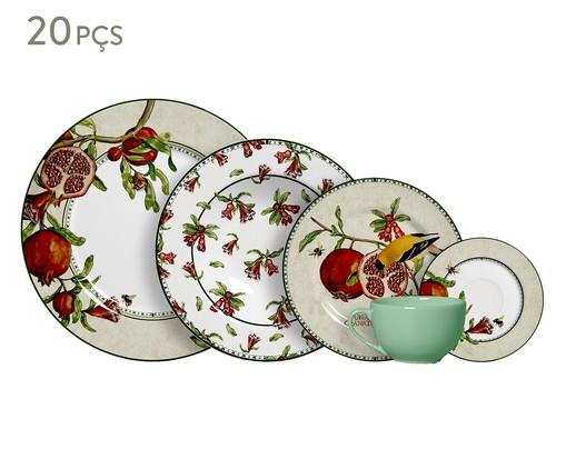Jogo de Jantar em Cerâmica Mira 04 Pessoas - Estampado, Vermelho | WestwingNow