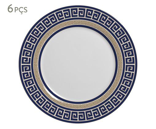 Jogo de Pratos Rasos em Cerâmica Dani 06 Pessoas - Estampado, Azul | WestwingNow