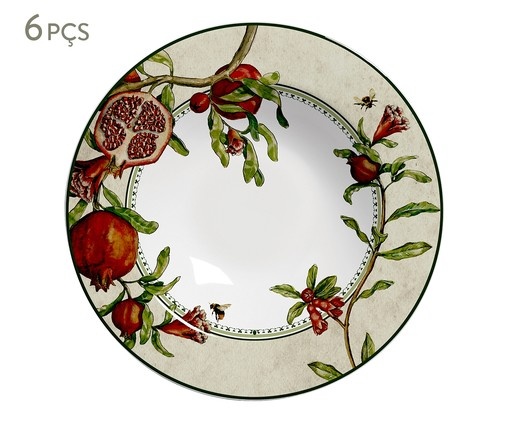 Jogo de Pratos Fundos em Cerâmica Mira 06 Pessoas - Estampado, Vermelho | WestwingNow