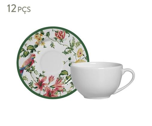 Jogo de Xícaras e Pires para Chá em Cerâmica Lara - Estampado, Colorido | WestwingNow