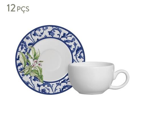 Jogo de Xícaras e Pires para Café em Cerâmica Nina 06 Pessoas - Estampado, Azul | WestwingNow