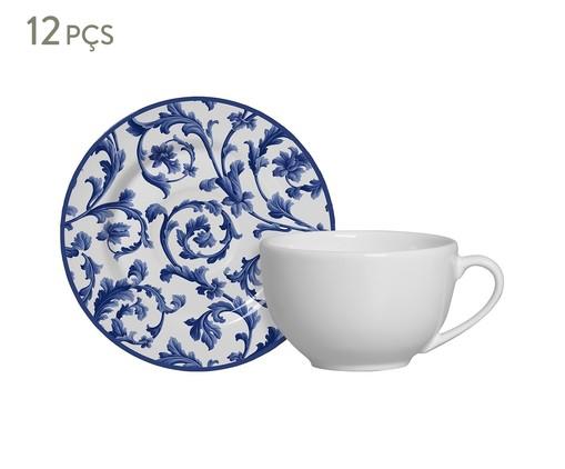 Jogo de Xícaras e Pires para em Cerâmica Chá Nina 06 Pessoas - Estampado, Azul | WestwingNow