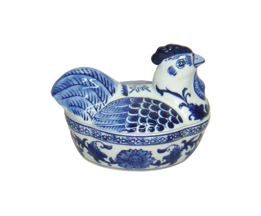 Pote Decorativo em Porcelana Galinha - Branco e Azul, Branco, Azul   WestwingNow