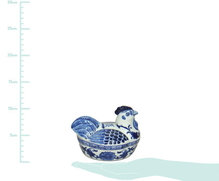 Pote Decorativo em Porcelana Galinha - Branco e Azul | WestwingNow