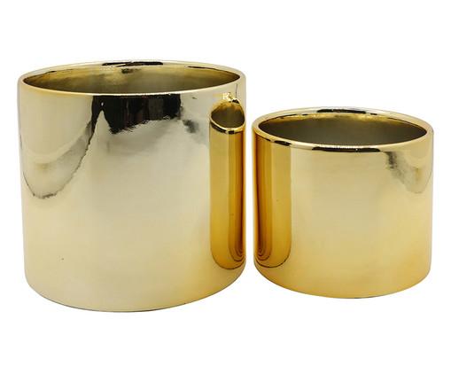 Jogo de Cachepots em Cerâmica Cybele - Dourado, Dourado | WestwingNow