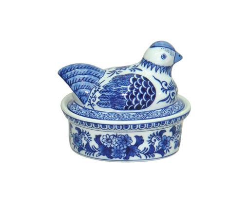 Pote Decorativo em Porcelana Pássaro - Azul e Branco, Branco, Azul | WestwingNow