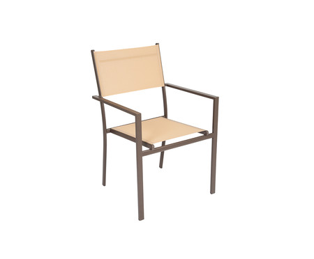 Cadeira Empilhável Square - Bege e Marrom | WestwingNow