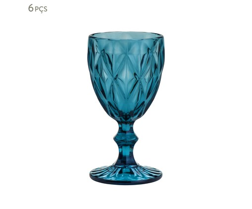 Jogo de Taças para Água em Vidro Iara - Azul, Azul | WestwingNow