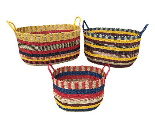 Jogo de Cestos Organizadores Lia em Fibra - Colorido, Marrom, Amarelo, Azul, Colorido | WestwingNow