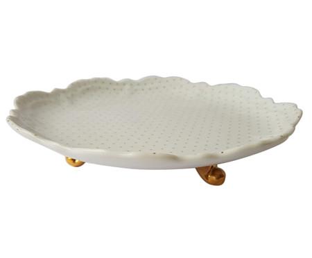 Prato para Bolo em Porcelana Rococó Bolinha - Branco e Dourado | WestwingNow