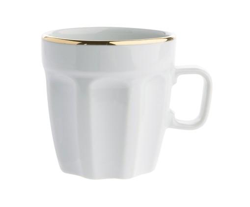 Caneca em Porcelana Canel Filete - Branca e Dourada, Branco | WestwingNow