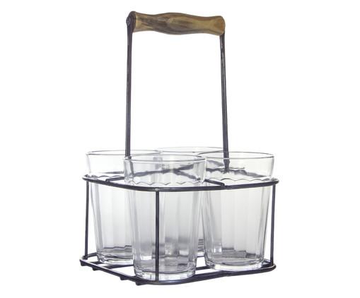 Jogo de Copos para Água com suporte em Vidro Mel - Transparente, Alumínio   WestwingNow