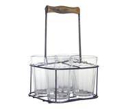 Jogo de Copos para Água com suporte em Vidro Mel - Transparente | WestwingNow