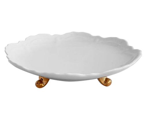 Prato para Bolo em Porcelana Rococó - Branco e Dourado, Branco | WestwingNow